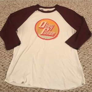 Obey posse baseball style graphic tee size large